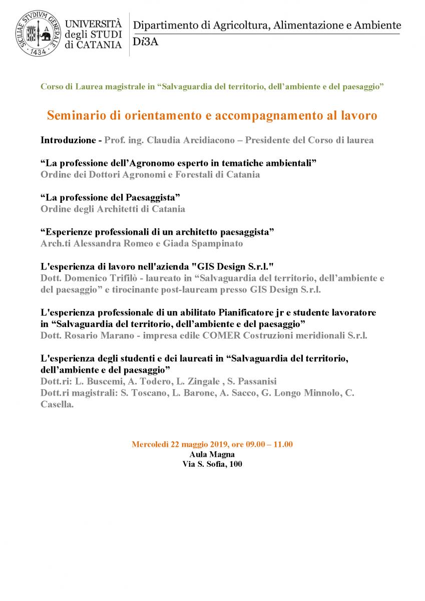Architetto Catania Lavoro seminario di orientamento e accompagnamento al lavoro
